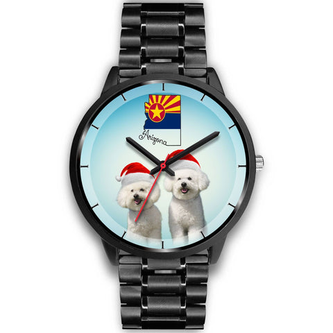 Cute Bichon Frise On Christmas Arizona Wrist Watch-Free Shipping
