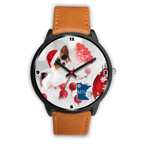 Papillon Dog Minnesota Christmas Special Wrist Watch-Free Shipping