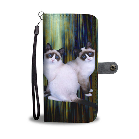 Lovely Snowshoe Cat Print Wallet Case-Free Shipping