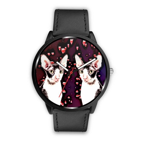 Cornish Rex Cat With Love Print Wrist Watch-Free Shipping