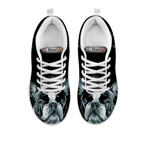 Boston Terrier Black Print Running Shoes For Women- Free Shipping-For 24 Hours Only