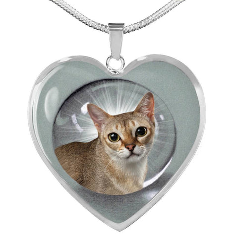 Singapura Cat Print Heart Pendant Luxury Necklace-Free Shipping