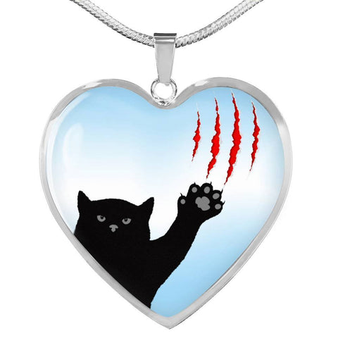 Cat Print Heart Pendant Luxury Necklace-Free Shipping