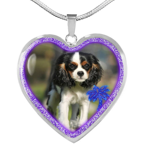 English Toy Spaniel Dog Print Heart Charm Necklaces-Free Shipping