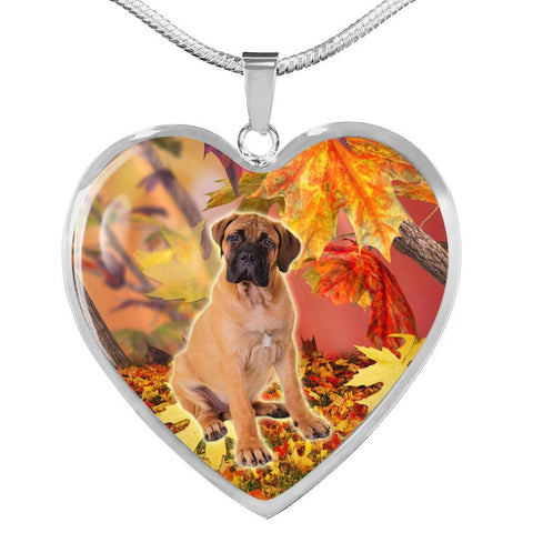Cute Bullmastiff Print Heart Pendant Luxury Necklace-Free Shipping