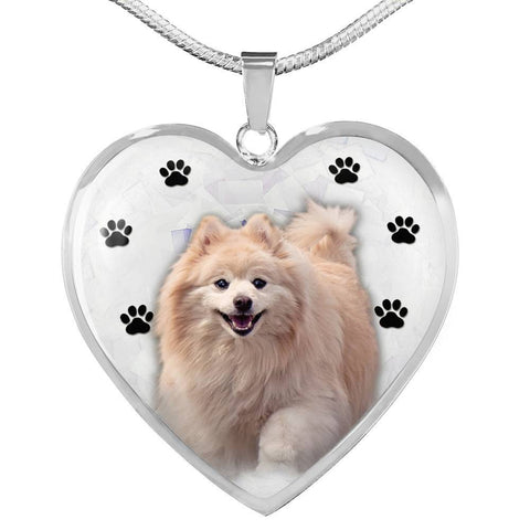 Cute Pomeranian Print Heart Charm Necklace-Free Shipping