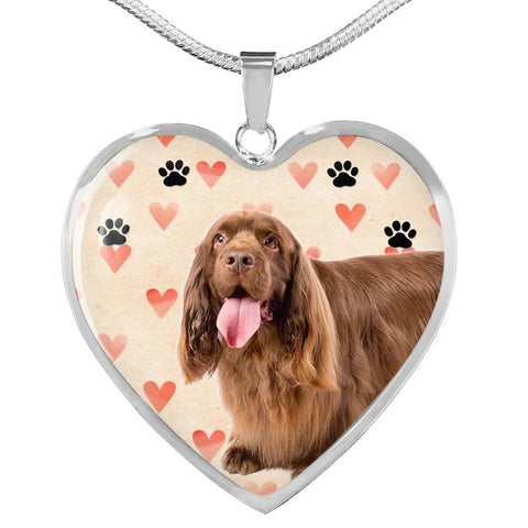 Sussex Spaniel Print Heart Pendant Luxury Necklace-Free Shipping