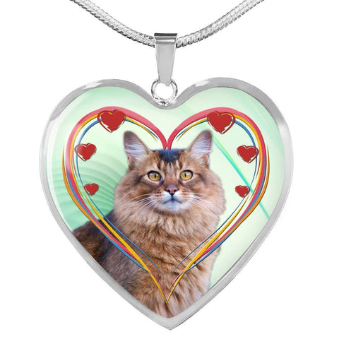 Somali Cat Print Heart Pendant Luxury Necklace-Free Shipping