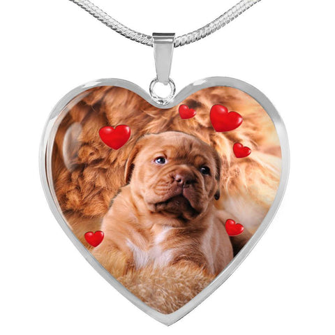 Bordeaux Mastiff Print Heart Pendant Luxury Necklace-Free Shipping