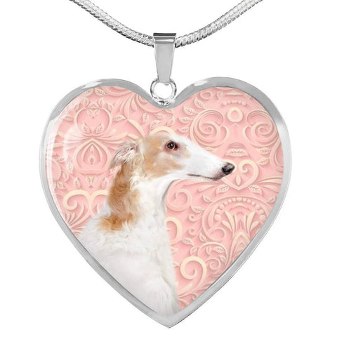 Borzoi Dog Print Heart Pendant Luxury Necklace-Free Shipping