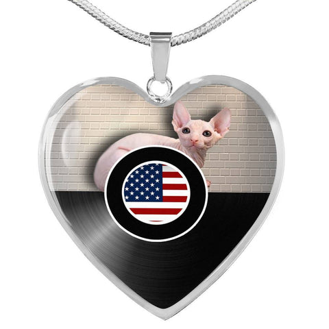 Sphynx Cat Print Heart Pendant Luxury Necklace-Free Shipping