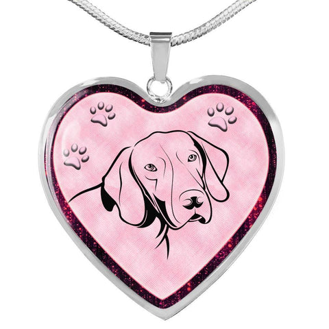 German Shorthaired Pointer Dog Print Heart Charm Necklaces-Free Shipping