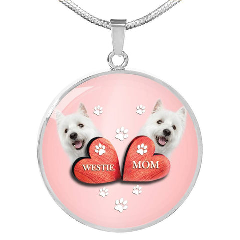 West Highland White Terrier (Westie) Print Circle Charm Luxury Necklace-Free Shipping