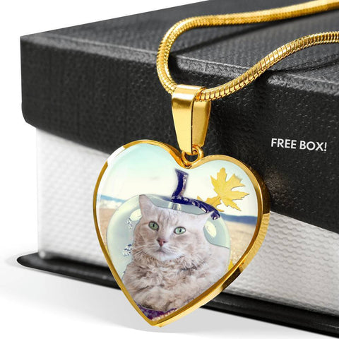 Cute LaPerm Cat Print Heart Pendant Luxury Necklace-Free Shipping