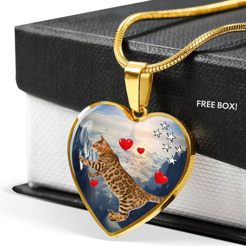 California Spangled Cat Print Heart Pendant Luxury Necklace-Free Shipping