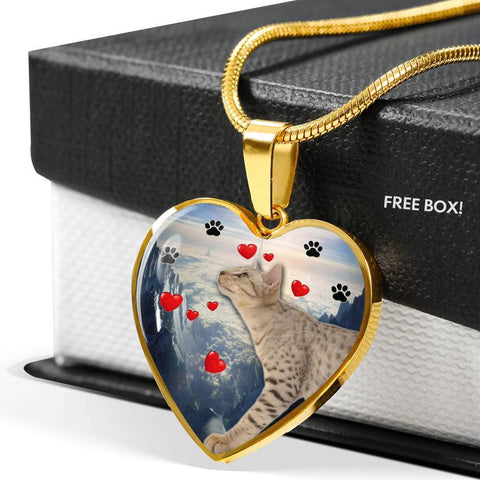 Cute Ocicat Print Heart Pendant Luxury Necklace-Free Shipping