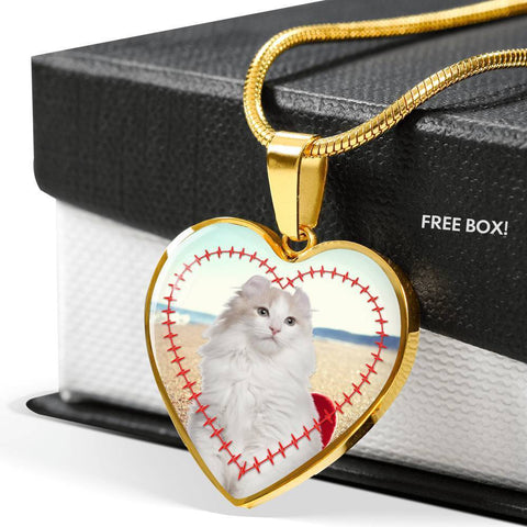 American Curl Print Heart Pendant Luxury Necklace-Free Shipping
