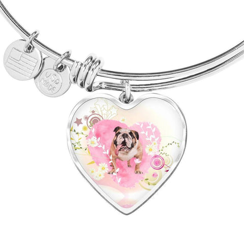 Bulldog Print Heart Charm Bangle-Free Shipping
