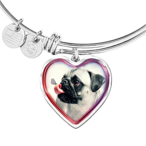 Cute Pug Dog Print Heart Pendant Bangle-Free Shipping