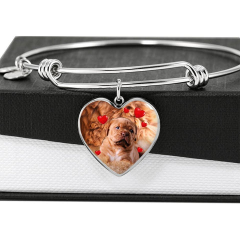 Bordeaux Mastiff Print Luxury Heart Charm Bangle-Free Shipping