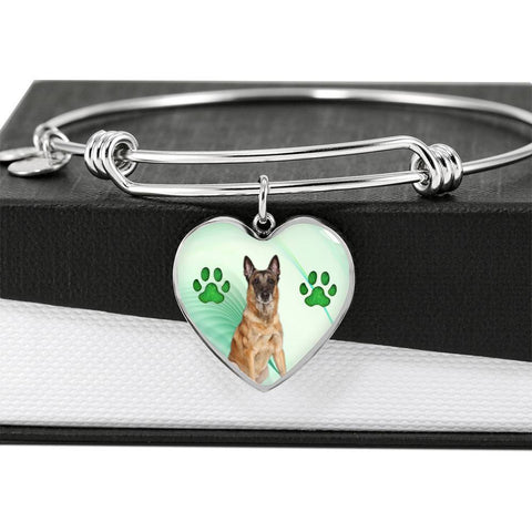 Belgian Malinois Print Luxury Heart Charm Bangle -Free Shipping