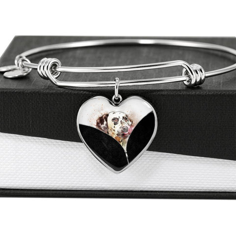 Dalmatian Dog Art Print Heart Pendant Bangle-Free Shipping