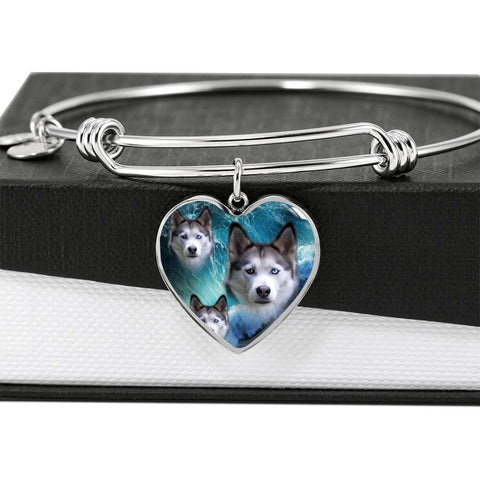 Siberian Husky Print Luxury Heart Charm Bangle-Free Shipping