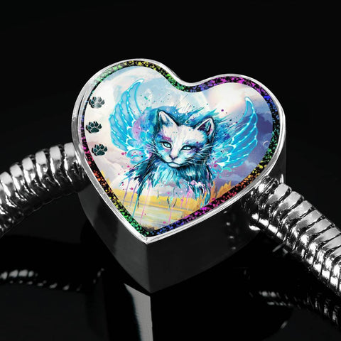 Cat Watercolor Art Print Heart Charm Steel Bracelet-Free Shipping