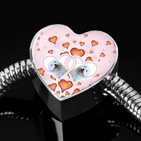 Maltese Dog Print Heart Charm Steel Bracelet-Free Shipping