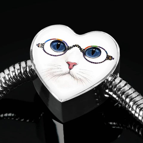 Cute Cat With Glasses Print Heart Charm Steel Bracelet-Free Shipping