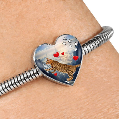 California Spangled Cat Print Heart Charm Steel Bracelet-Free Shipping