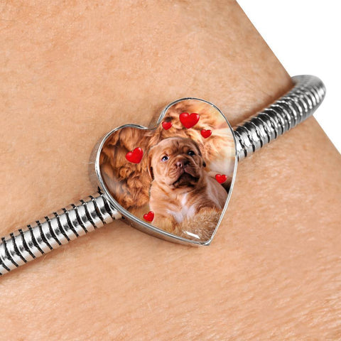 Cute Bordeaux Mastiff Print Heart Charm Steel Bracelet-Free Shipping