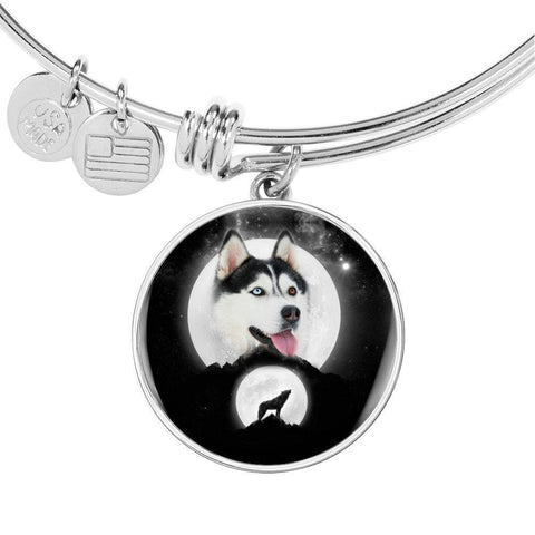 Siberian Husky Dog Print Circle Pendant Luxury Bangle-Free Shipping