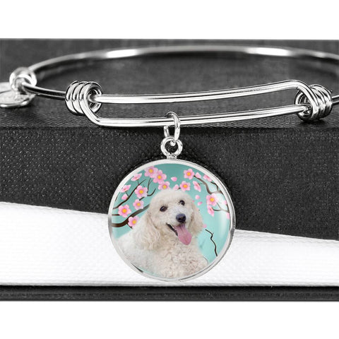 Poodle Dog Print Circle Pendant Bangle-Free Shipping