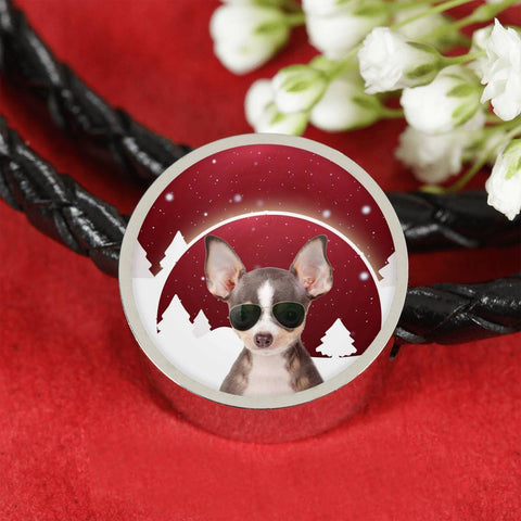 Chihuahua Print Circle Charm Leather Bracelet-Free Shipping
