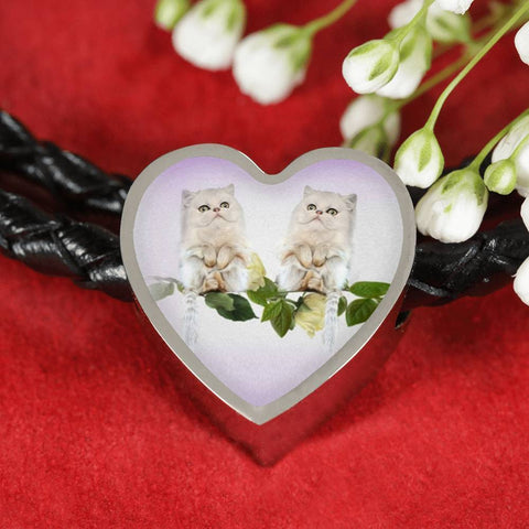 White Persian Cat Print Heart Charm Leather Bracelet-Free Shipping