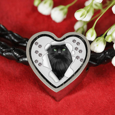Nebelung Cat Print Heart Charm Leather Woven Bracelet-Free Shipping