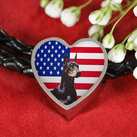 Doberman Pinscher Print Heart Charm Leather Bracelet-Free Shipping