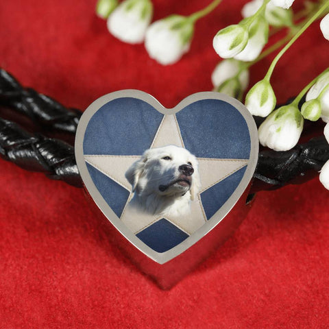 Great Pyrenees Print Heart Charm Braided Bracelet-Free Shipping