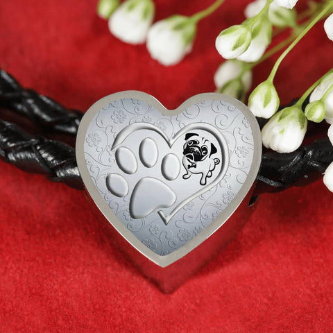 Pug Paws Print Heart Charm Leather Bracelet-Free Shipping