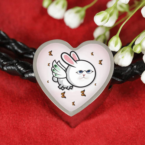Flying Cat Print Heart Charm Leather Bracelet-Free Shipping