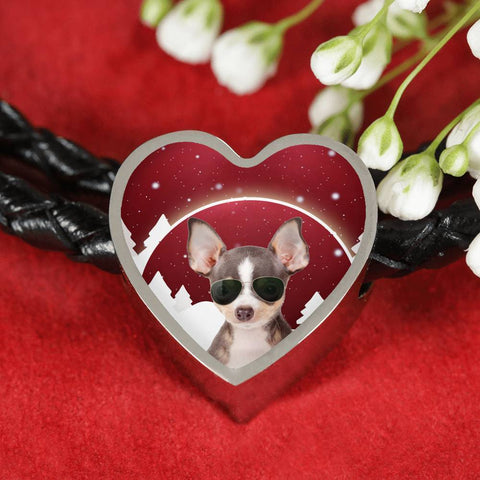 Chihuahua Print Heart Charm Leather Bracelet-Free Shipping