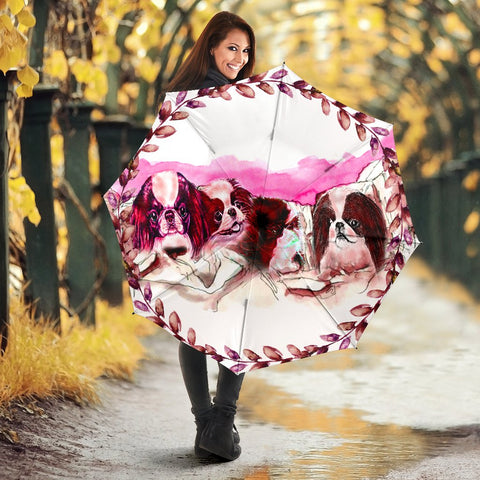Japanese Chin Dog On Mount Rushmore Print Umbrellas