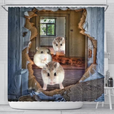 Roborovski Hamster 3D Print Shower Curtains-Free Shipping