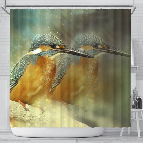 Kingisher Bird Art Print Shower Curtains-Free Shipping