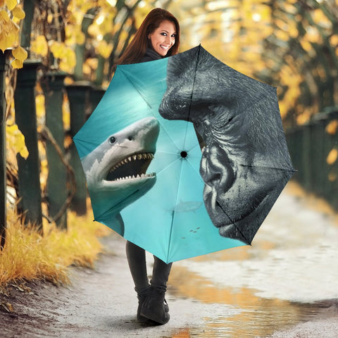 King Kong vs Shark Print Umbrellas
