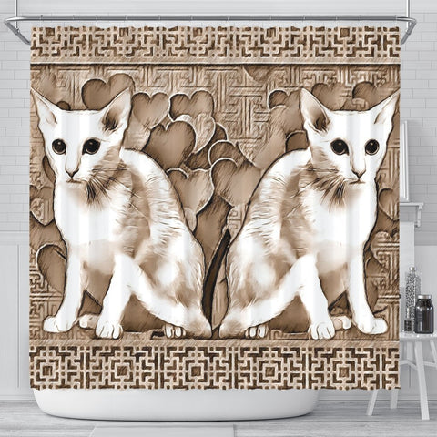 Oriental Shorthair Cat Print Shower Curtain-Free Shipping