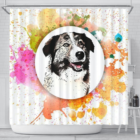 Colorful Aidi Dog Print Shower Curtain-Free Shipping