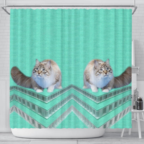 Ragamuffin cat Print Shower Curtain-Free Shipping