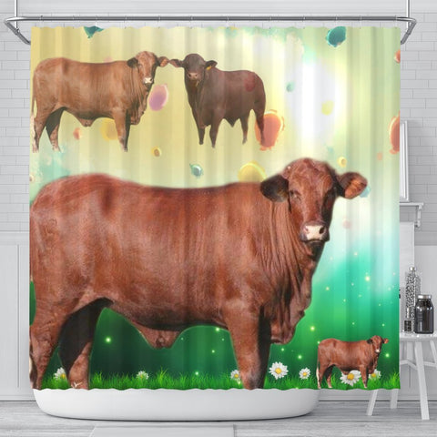 Amazing Santa Gertrudis cattle (Cow) Print Shower Curtain-Free Shipping